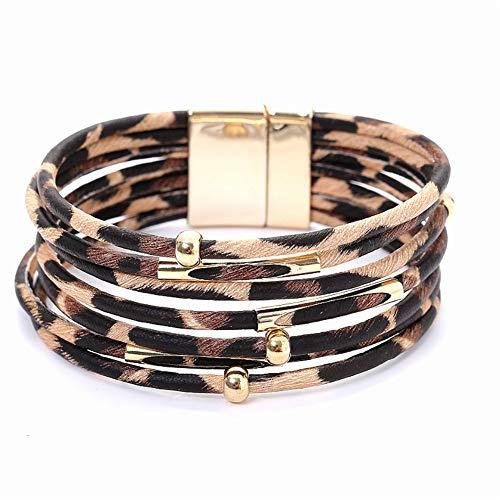 Leopard Bracelets for Women Metal Pipe Charm Multilayer Wide Leather Wrap Retro Wide Wrap Bangle