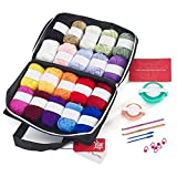 Mind My Thread 20 Acrylic Yarn Skeins for Crochet Craft Kit   1,093 Yards   20 Colors   Yarn Storage Bag & 2 Crochet Hooks + 2 Ebooks, 5 Stitch Markers, 2 Tapestry Needles & 2 Pom Pom Makers: more info