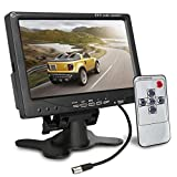 [Upgrade with Image Reverse Function] Esky 7 inch TFT LCD Color 2 Video Input Car Rear View Monitor DVD VCR Monitor With Remote and Stand