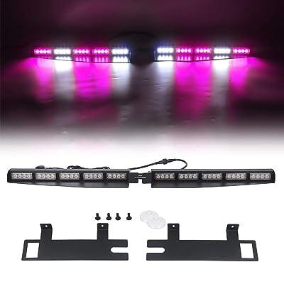 "Strobe Light Bar /34"" 40 LED Emergency Warning/Visor Dash Deck Split/w/Take Down Signal/LED Windshield Flashing (Purple/White): Automotive"