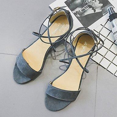 Sandalias De Mujer Yff Confort De Verano Pu Con Cordones De Tacón Bajo Al Aire Libre, Gris, Us6 / Eu36 / Uk4 / Cn36
