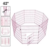Pet Playpen Pet Pen Folding Wire Dog Exercise Pen Pet Fence Yard Fence 8 Panel Cage 42 Inch-Pink Color (42 Inch W/Door Pink Color)