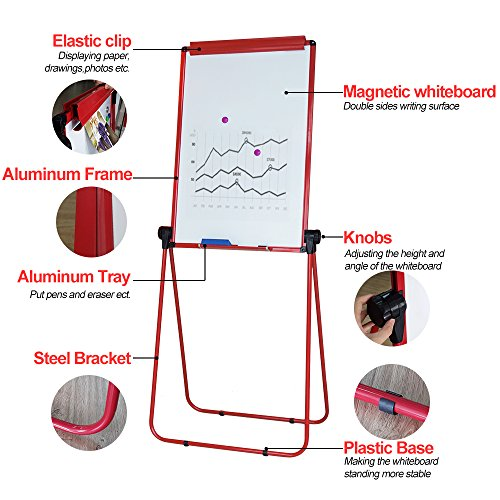 XIWODE Magnetic Easel-style Dry Erase Board, Flip Chart Red U-Stand Whiteboard, 36 x 24 Inch,Aluminum Framed, with Metal Clips and Eraser, Foldable White Board for School, Home, Office by XIWODE (Image #1)