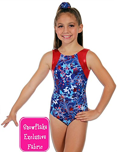 Snowflake Designs Leotards - Snowflake Designs Patriot Red, White, Blue Gymnastics or Dance Leotard (Adult Extra Small)