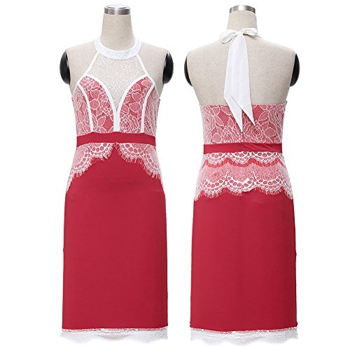 Mujer de encaje Vintage Bodycon cóctel de noche formal Evening Dress Rojo