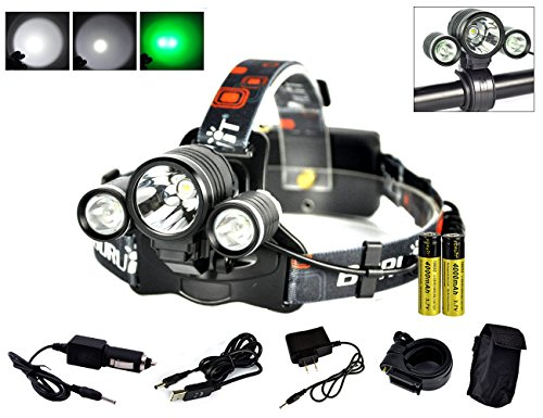 Boruit Hunnting Headlight with Green light 3T6 LED Night Flashlight Cycling Headlamp for Caming Fishing Running ()