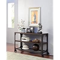 Furniture of America Kastas Industrial Sofa Table, Black