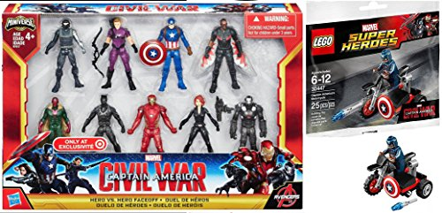Marvel Hero Faceoff Exclusive Captain America Civil War Action Figures Avengers Set + Lego Super Heroes Captain America Motorcycle & Mini Figure (30447)