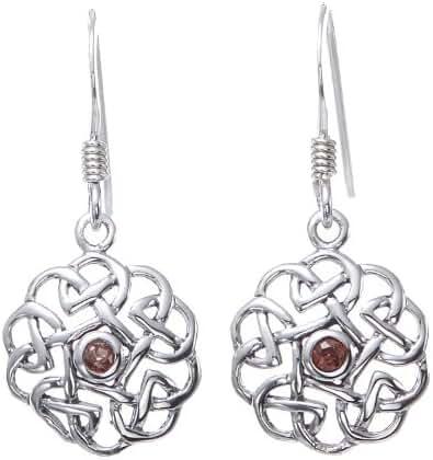 925 Sterling Silver Round Celtic Knot Gemstone Dangle Earrings 12 mm - Nickel Free