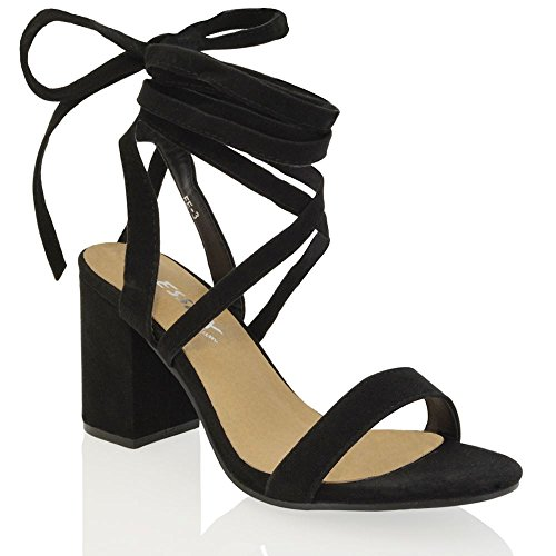 Heel Wrap Platform Chunky Ankle - ESSEX GLAM Womens Black Faux Suede Lace up Block mid Heel Strappy Sandal Shoes 9 B(M) US