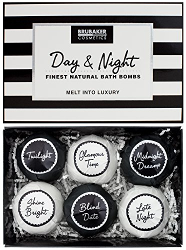 "BRUBAKER Bath Bombs Gift Set ""Day & Night"" – 6 Handmade Luxury Spa Bath Fizzies – All Natural, Vegan, Organic Ingredients – Almond Oil Moisturizes Dry Skin"
