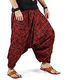 ninja pants - The Harem Studio Boho Hippie Mens Womens Cotton Handmade Harem Pants With Side Pockets - Spiral Design (Light Red)