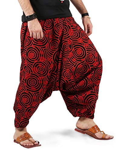 THS Boho Hippie Mens Womens Cotton Handmade Harem Pants with Side Pockets – Spiral Design (Light Red)