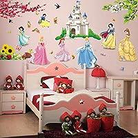 ملصقات جدارية بتصميم الأميرات والطيور والزهور والقلعة لتزيين المنزل لغرف الأطفال والبنات والأطفال ملصق لغرفة نوم الأطفال