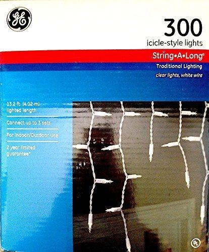 GE 300 Icicle-Style String-A-Long Clear Lights, Indoor or Outdoor (Set Light Icicle)