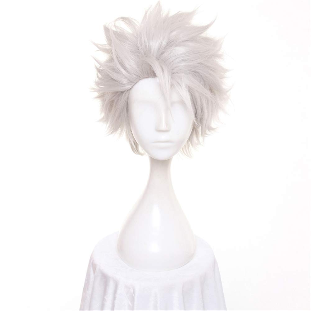 12 Women Men Cosplay Hair Wig Fluffy Short Straight Anime Party Dress Fluffy Costume Full Wigs Silver Grey Heat Resistance Fiber Hair