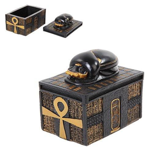 PTC 4.13 Inch Scarab Topped Egyptian Rectangle Jewelry/Trinket Box Figurine ()