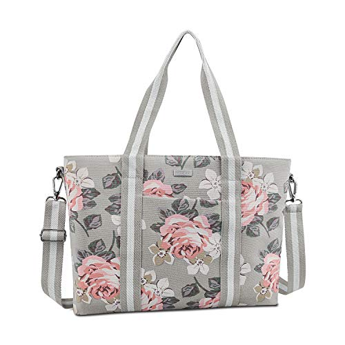 MOSISO Laptop Tote Bag (Up to 17.3 Inch), Canvas Classic Rose Multifunctional Work Travel Shopping Duffel Carrying Shoulder Handbag Compatible Notebook, MacBook, Ultrabook and Chromebook, Gray