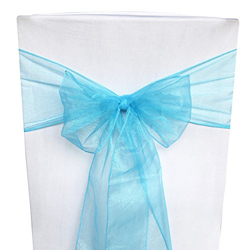 ATCG 25pcs Organza Chair Bows and Sashes Ties Chair Cover Ribbon slipcovers for Wedding Party Banquet Events Decor (Aqua Blue)