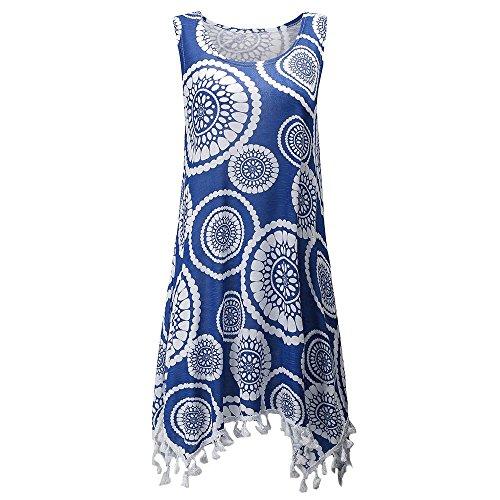 Hot Sale!! Women Vintage Boho Polka Dot Floral Print Sleeveless Pleat Tassels Swing Tank Dress Vest Shirt Blouse (M, Blue)