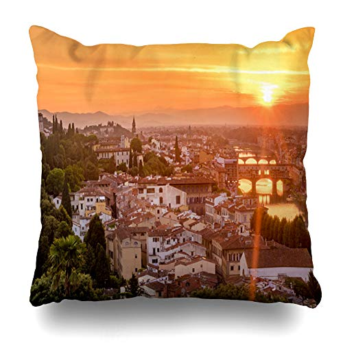 Ahawoso Throw Pillow Cover Square 16x16 Orange Arno 6 Sunset Over Florence Night Italy Bridge City Cityscape Europe Design Firenze Zippered Cushion Case Home Decor Pillowcase