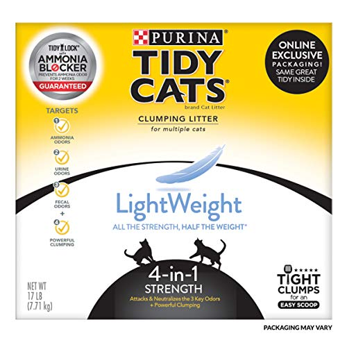 Purina Tidy Cats Light Weight, Dust Free, Clumping Cat Litter, LightWeight 4-in-1 Strength Multi Cat Litter - 17 lb. Box