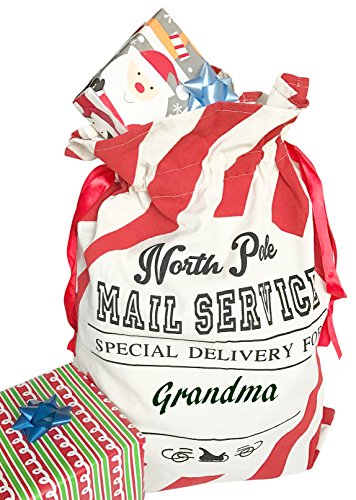Tree Buddees North Pole Mail Service Personalizable Christmas Gift Bag (Red Stripes)