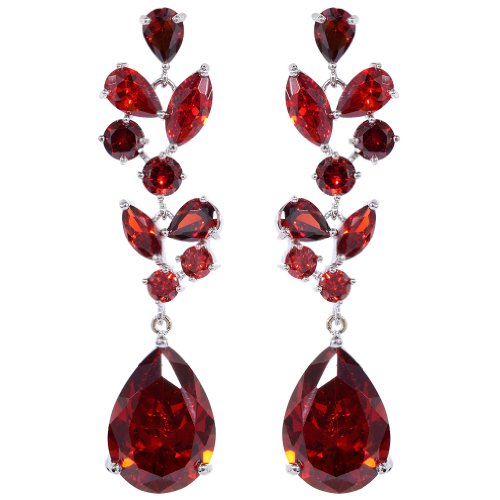 UBBC Chandelier Leaves Silver Plated Teardrop Red Cubic Zirconia CZ Flawless Post Dangle - Plated Teardrop Chandelier