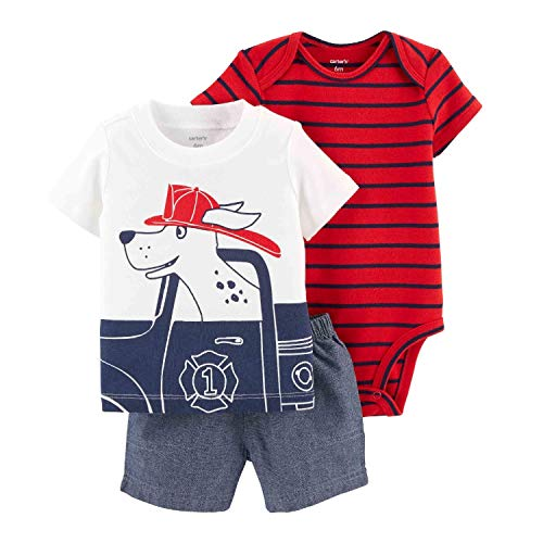 Carter's Baby Boys' 3 Piece Layette Set (Baby) (3 Months, Fire Dog/Blue) ()