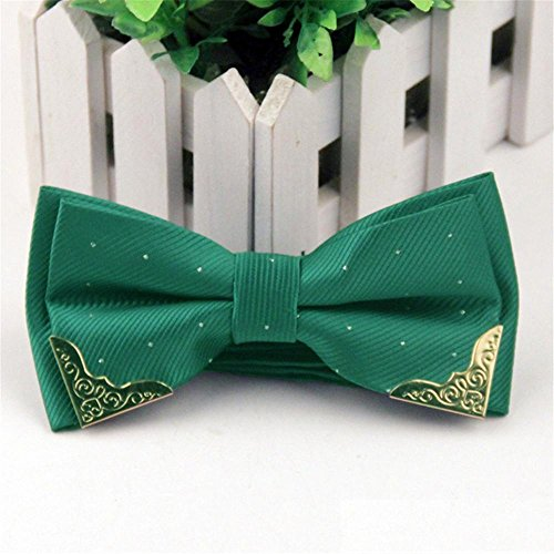 - Mens Fashion Solid Color Bow Tie Metal Decoration Collar Flowers For Wedding Party , lj-jy12 emerald green