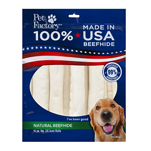 PET FACTORY  Usa Value-Pack Beefhide 8-Inch Retriever Rolls Chews for Dogs, 10-Pack (Rawhide Pet Factory)