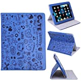 HDE Cute Cartoon Folding Leather Folio Case Cover & Stand for Apple iPad 1 (Blue)