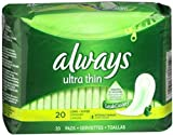 Always Ultra Thin Pads without Wings, Long Super 20 ea (Pack of 11)