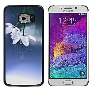 """Pulsar Snap-on Series Teléfono Carcasa Funda Case Caso para Samsung Galaxy S6 EDGE / SM-G925(NOT FOR S6) , Flores Invierno Primavera Azul Blanco"""""""