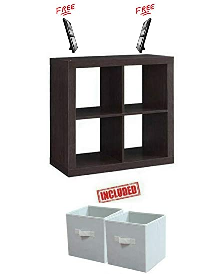 Better Homes And Gardens Bookshelf Square Storage Cabinet 4 Cube Organizer In Espresso Finish With
