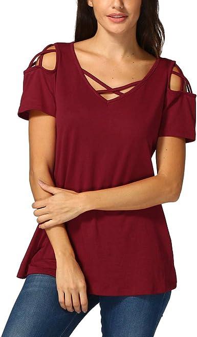 Camisetas de Mujer Camisa Manga Corta T-Shirts Cuello en V ...