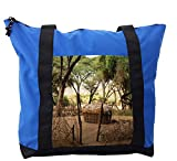 Lunarable Ethnic Shoulder Bag, Tribal House in Trees Africa, Durable with Zipper