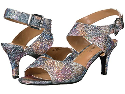 Fabric Ankle Strap - J. Renee Women's Soncino Ankle Strap Sandal,Silver/Pastel Metallic Fabric/Rhines
