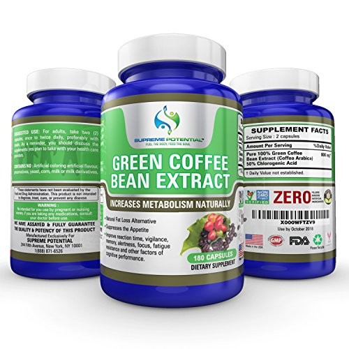 Supreme Potential 100% Pure Green Coffee Bean Extract for Natural Weight Loss and Metabolism Support - 800mg Capsules - 180 Capsules - 90 Day Supply - Manufactured in USA. by Supreme Potential