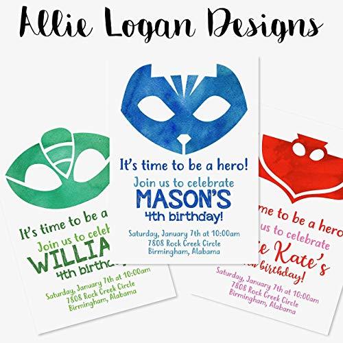 Watercolor PJ Masks Themed Custom Invitations - 3 Choices