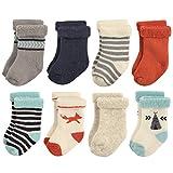Hudson Baby Basic Socks, 8 Pack, Fox, 6-12 Months