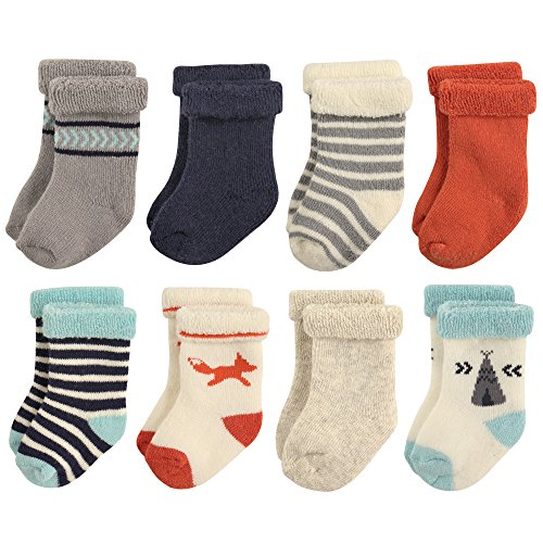 Hudson Baby Basic Socks, 8 Pack, Fox, 0-6 (Infant Terry Socks)