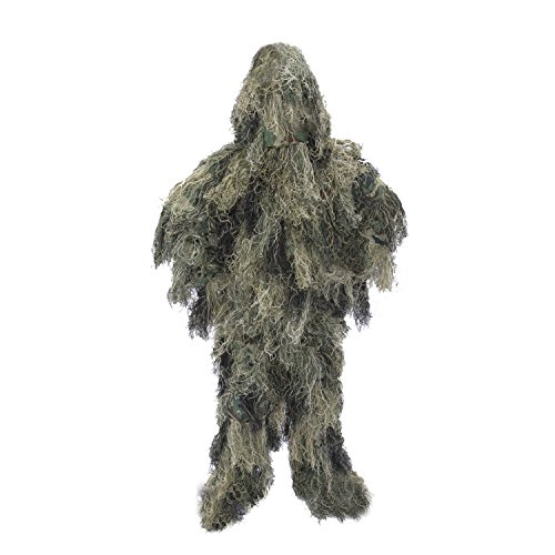 ALEKO PBGS51 Tactical Paintball Hunting Woodland Ghillie 3 Piece Full Body Suit Green Camouflage