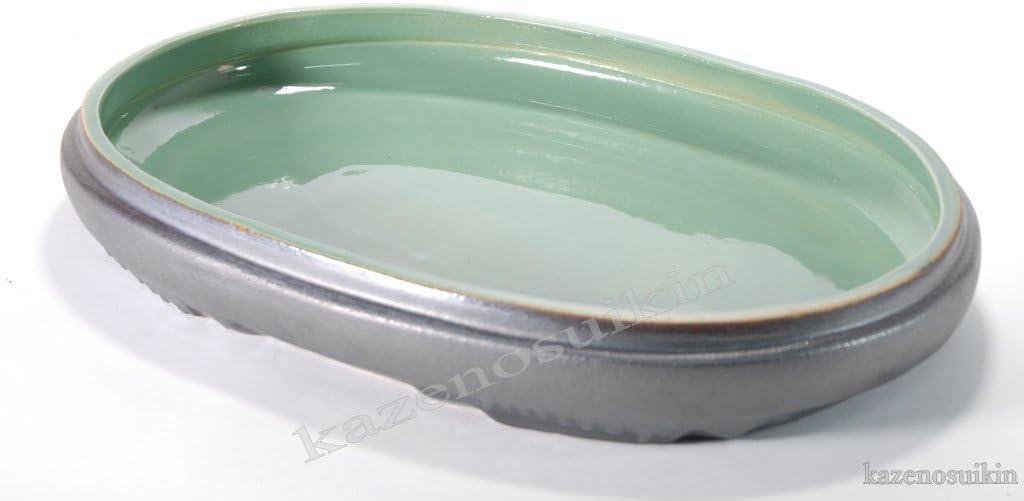 銀彩中青磁小判水盤 (信楽焼・陶器・花器・水盤・H)(18号)