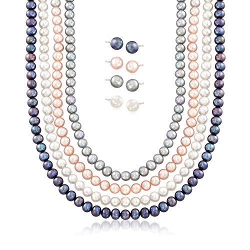 - Ross-Simons 5-7mm Multicolored Cultured Pearl Jewelry Set: Four Necklaces and Four Pairs Of Stud Earrings in Sterling