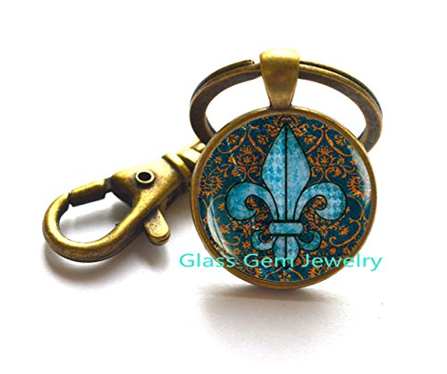 (Fleur de lis Key Ring, fleur de lis Keychain, fleur de lis jewelry, heraldry jewelry royal heraldic sign)