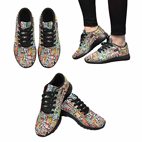 InterestPrint Womens Jogging Running Sneaker Lightweight Go Easy Walking Comfort Sports Athletic Shoes Collage Of Numbers Clippings Multi 1 T2y3F18OO