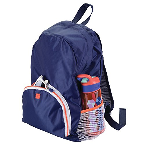 mDesign Lightweight Collapsible Travel Backpack: Top Handle, Adjustable Mesh-Lined Straps and 2-Way Zipper: Perfect for a Carry On, Duffel Bag, Gym Bag – Navy Blue/White Trim with Orange Zipper by mDesign
