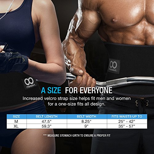 Waist Trimmer, Maxboost Premium Weight Loss Ab Belt for Men & Women [Black, Classic Medium] Workout Sweat Enhancer Exercise Adjustable Wrap for Stomach Enjoy Sweet Abdominal Muscle & Back Support