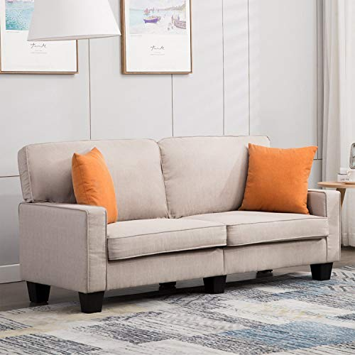 Mecor Loveseat Sofa Couch Fabric Loveseat Couch Classic Modern Sofa 68 Inch Living Room Furniture (Beige)
